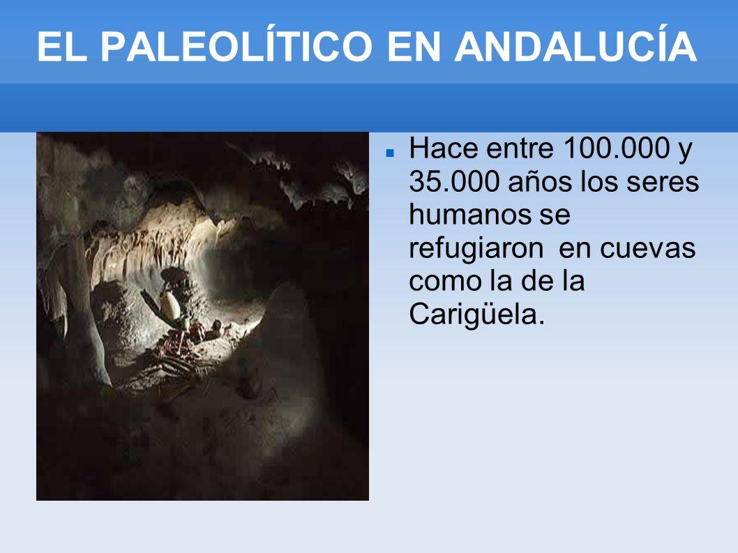 EL PALEOLÍTICO EN ANDALUCÍA Hace entre 100.000 y 35.000 años los seres humanos se refugiaron en cuevas como la de la Carigüela.