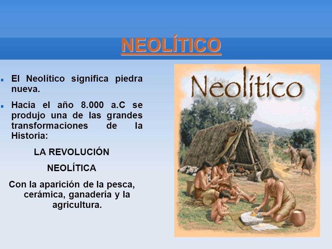 NEOLÍTICO El Neolítico significa piedra nueva. Hacia el año 8.000 a.C se produjo una de las grandes transformaciones de la Historia: LA REVOLUCIÓN NEO