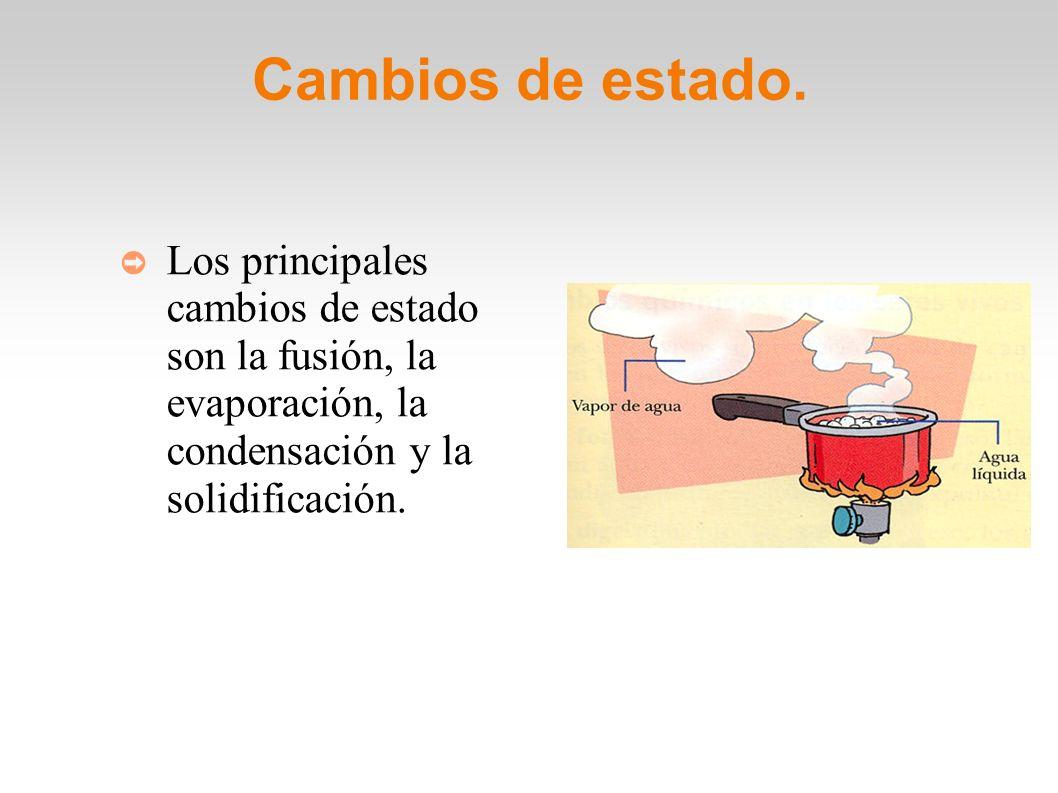 Cambios de estado. Los principales cambios de estado son la fusión, la evaporación, la condensación y la solidificación.