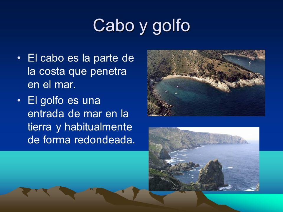 Cabo y golfo El cabo es la parte de la costa que penetra en el mar.