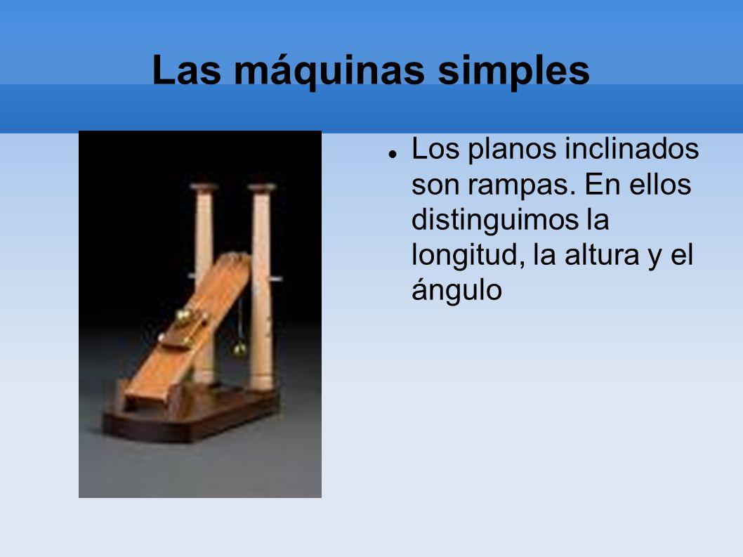 Las máquinas simples Los planos inclinados son rampas. En ellos distinguimos la longitud, la altura y el ángulo