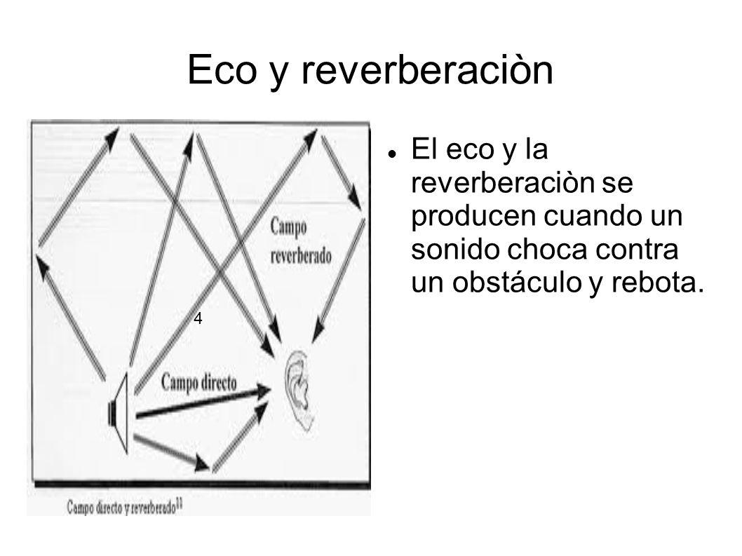 Eco y reverberaciòn El eco y la reverberaciòn se producen cuando un sonido choca contra un obstáculo y rebota. 4