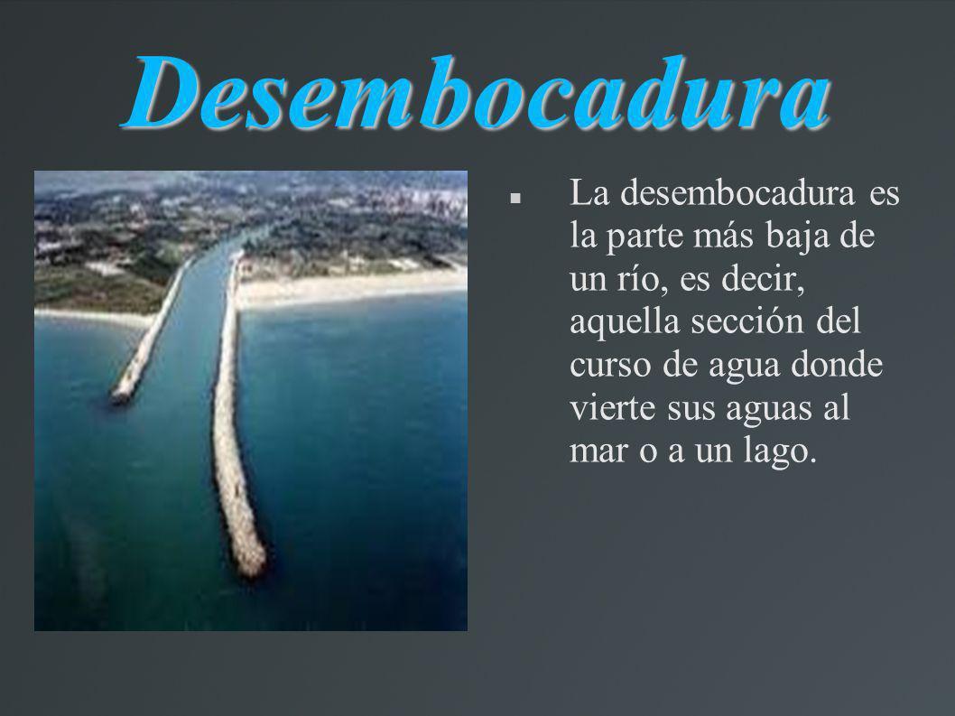 Desembocadura La desembocadura es la parte más baja de un río, es decir, aquella sección del curso de agua donde vierte sus aguas al mar o a un lago.