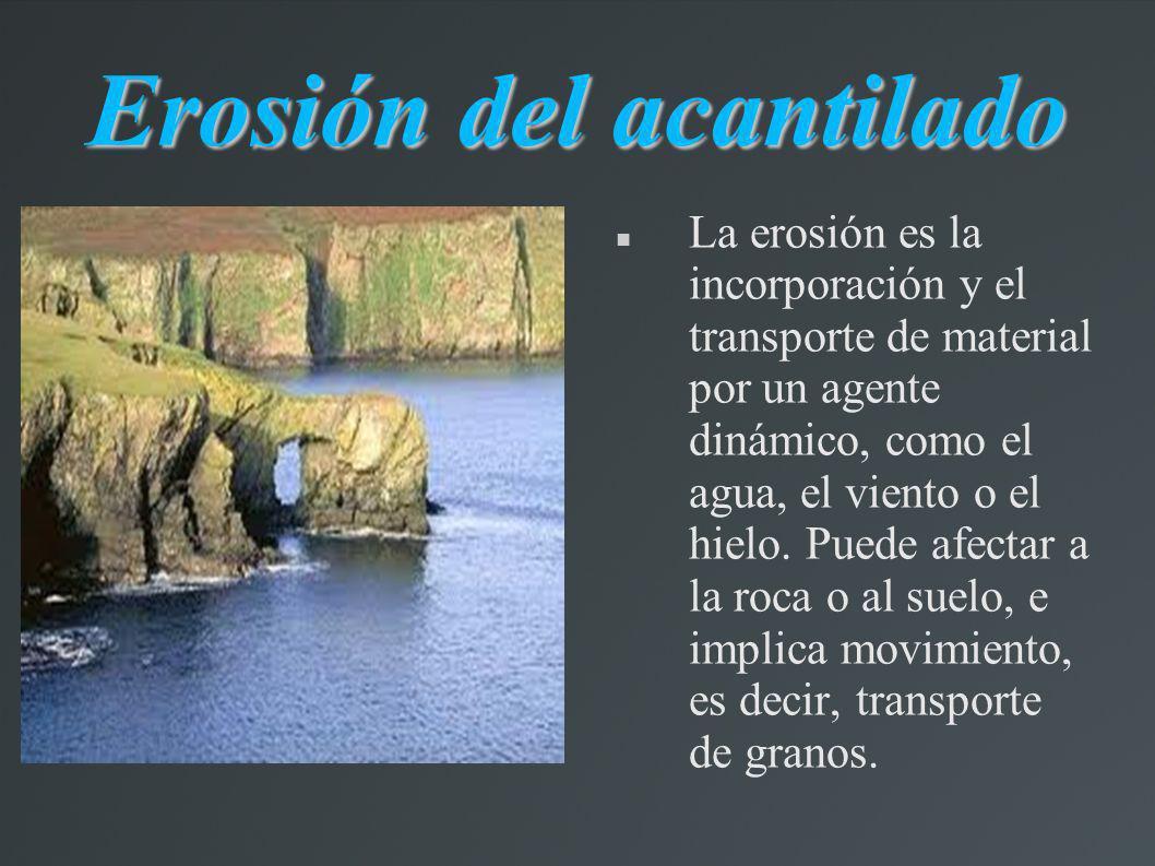 Erosión del acantilado La erosión es la incorporación y el transporte de material por un agente dinámico, como el agua, el viento o el hielo. Puede af