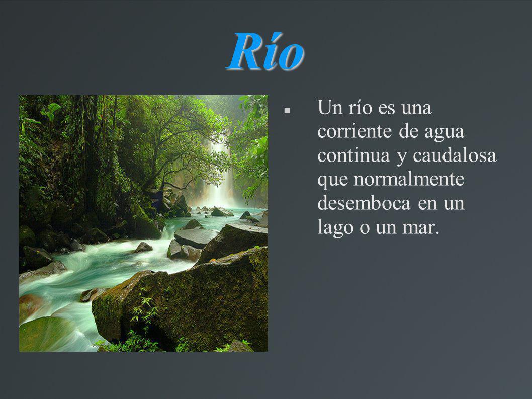 Río Un río es una corriente de agua continua y caudalosa que normalmente desemboca en un lago o un mar.