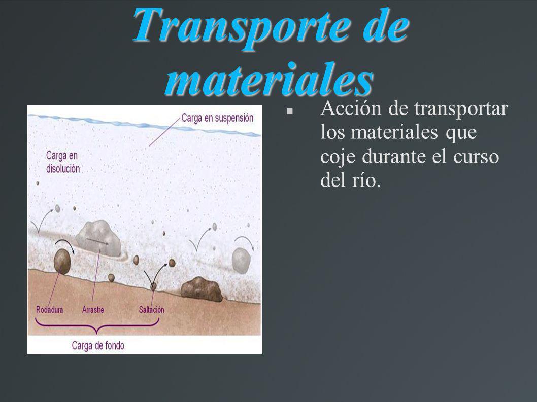 Transporte de materiales Acción de transportar los materiales que coje durante el curso del río.