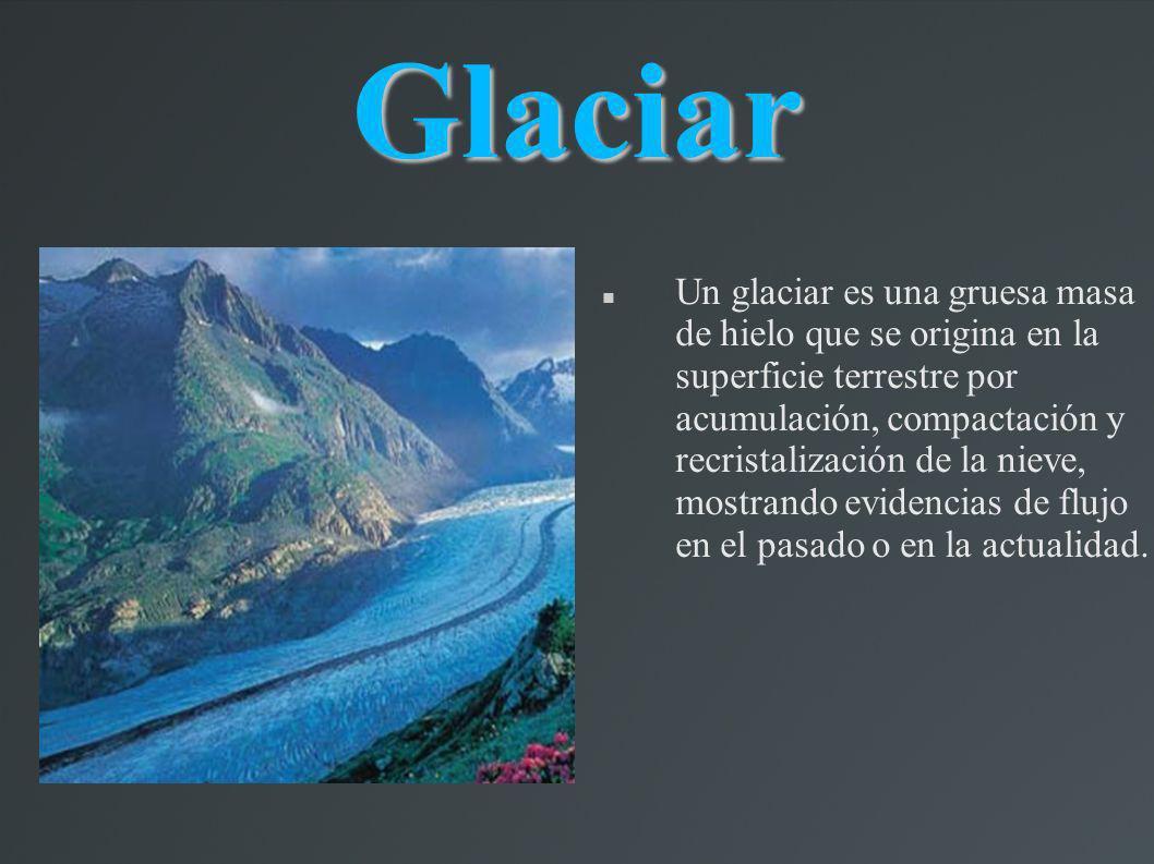 Glaciar Un glaciar es una gruesa masa de hielo que se origina en la superficie terrestre por acumulación, compactación y recristalización de la nieve,