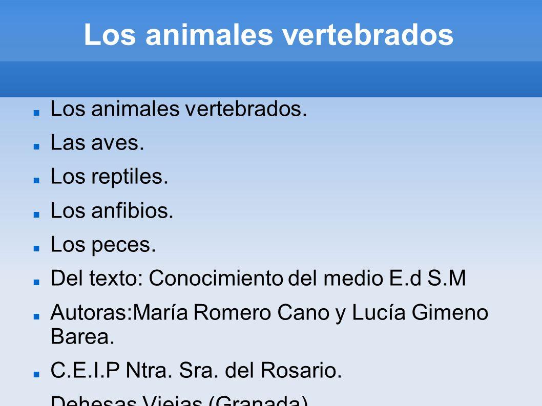 Los animales vertebrados Los animales vertebrados. Las aves. Los reptiles. Los anfibios. Los peces. Del texto: Conocimiento del medio E.d S.M Autoras: