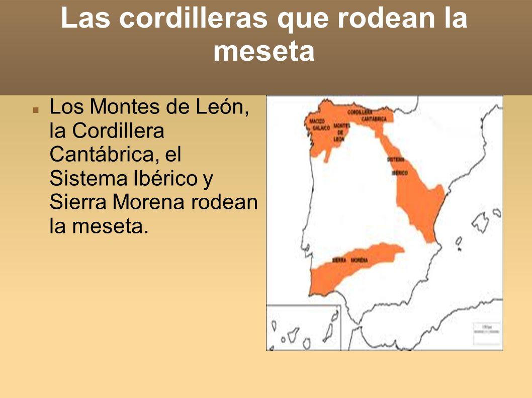 Las cordilleras que rodean la meseta Los Montes de León, la Cordillera Cantábrica, el Sistema Ibérico y Sierra Morena rodean la meseta.