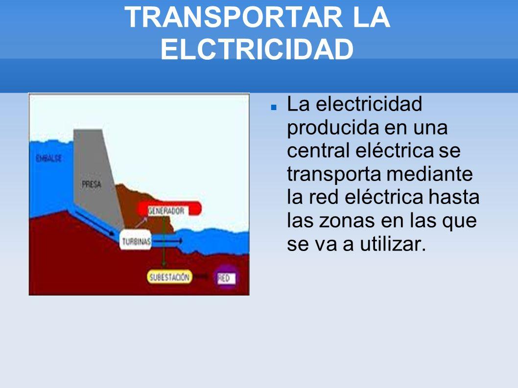 TRANSPORTAR LA ELCTRICIDAD La electricidad producida en una central eléctrica se transporta mediante la red eléctrica hasta las zonas en las que se va