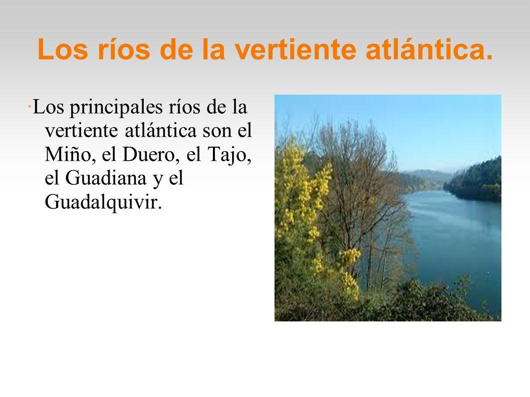 Los ríos de la vertiente atlántica. ·Los principales ríos de la vertiente atlántica son el Miño, el Duero, el Tajo, el Guadiana y el Guadalquivir.