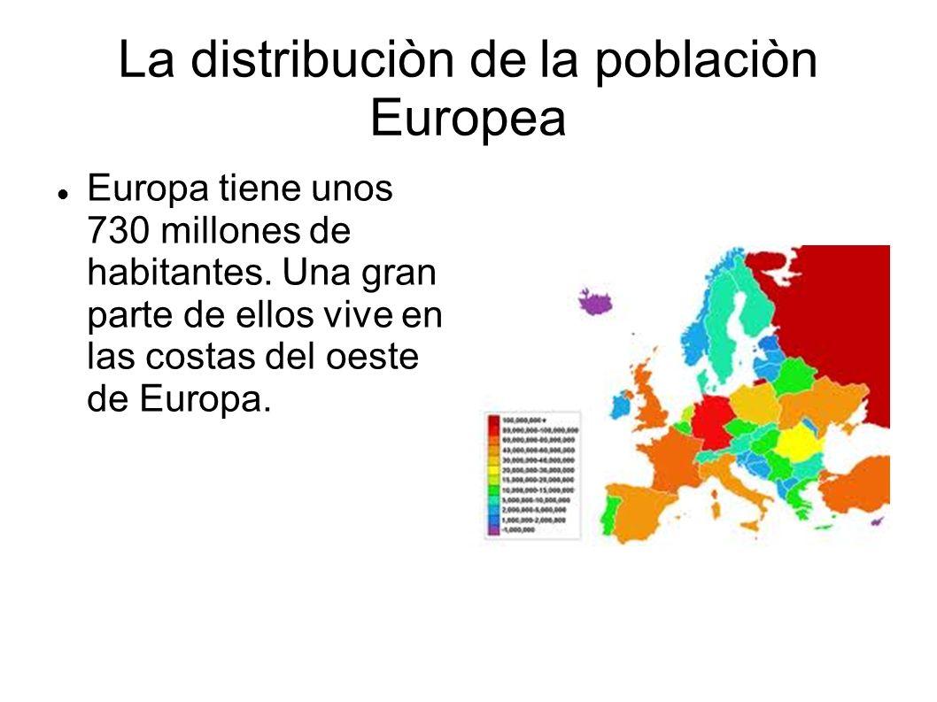 La distribuciòn de la poblaciòn Europea Europa tiene unos 730 millones de habitantes. Una gran parte de ellos vive en las costas del oeste de Europa.