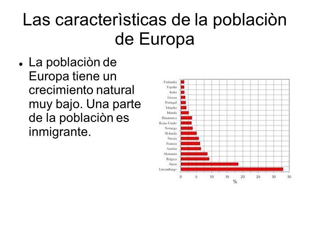 Las caracterìsticas de la poblaciòn de Europa La poblaciòn de Europa tiene un crecimiento natural muy bajo. Una parte de la poblaciòn es inmigrante.