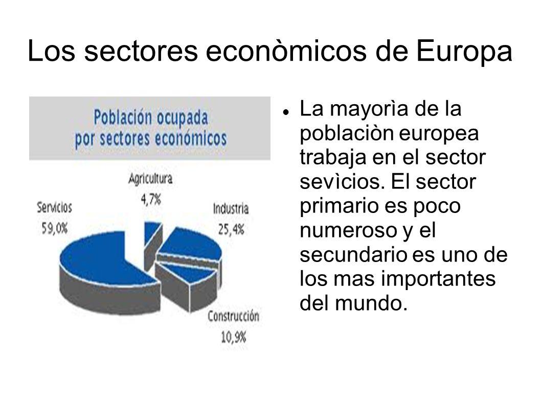 Los sectores econòmicos de Europa La mayorìa de la poblaciòn europea trabaja en el sector sevìcios. El sector primario es poco numeroso y el secundari
