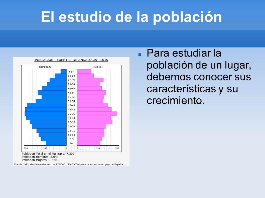 El estudio de la población Para estudiar la población de un lugar, debemos conocer sus características y su crecimiento.