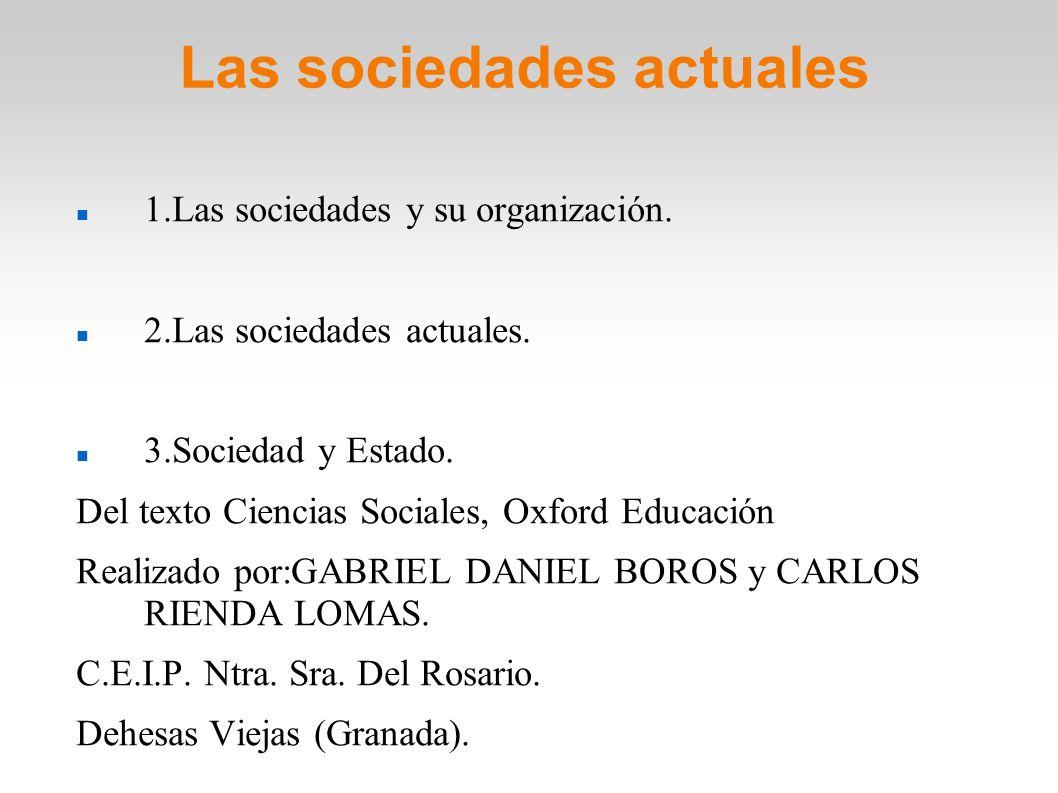 Las sociedades actuales 1.Las sociedades y su organización. 2.Las sociedades actuales. 3.Sociedad y Estado. Del texto Ciencias Sociales, Oxford Educac