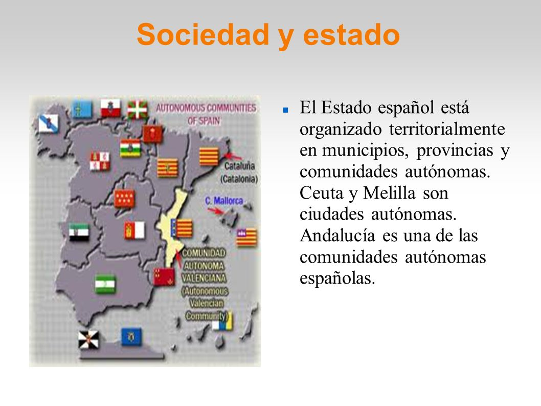 Sociedad y estado El Estado español está organizado territorialmente en municipios, provincias y comunidades autónomas. Ceuta y Melilla son ciudades a