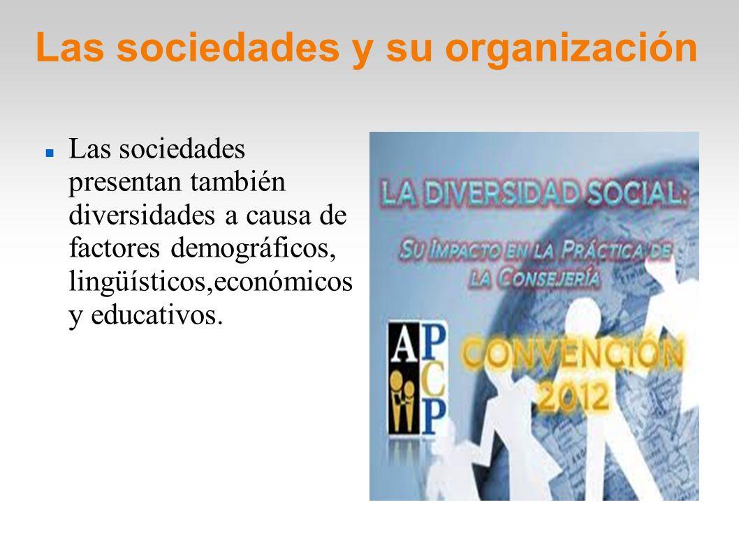 Las sociedades y su organización Las sociedades presentan también diversidades a causa de factores demográficos, lingüísticos,económicos y educativos.