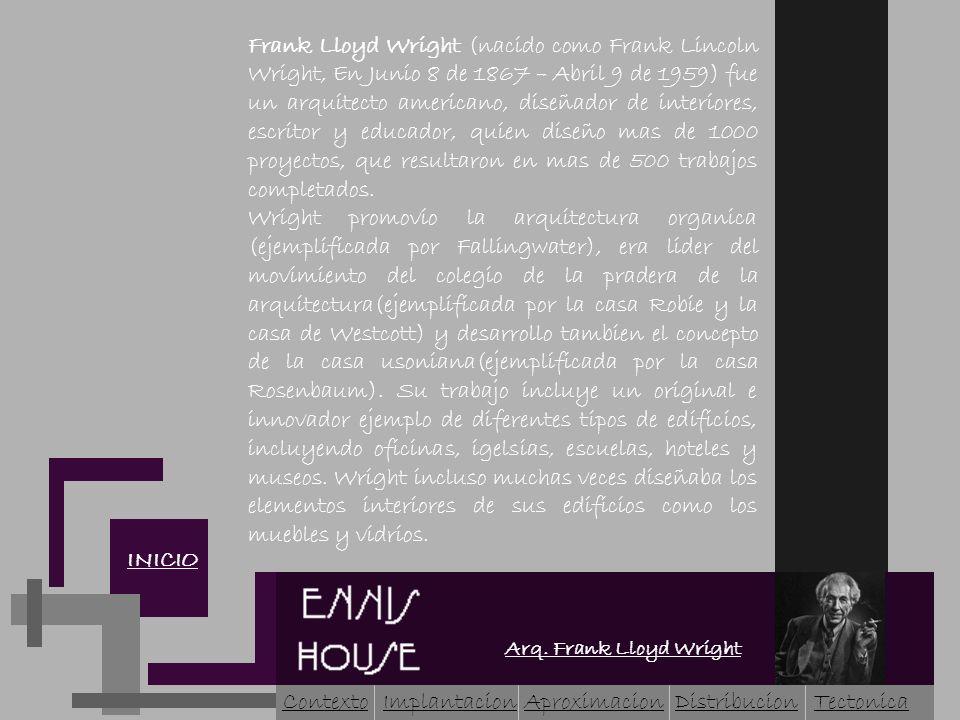 Arq. Frank Lloyd Wright INICIO Frank Lloyd Wright (nacido como Frank Lincoln Wright, En Junio 8 de 1867 – Abril 9 de 1959) fue un arquitecto americano