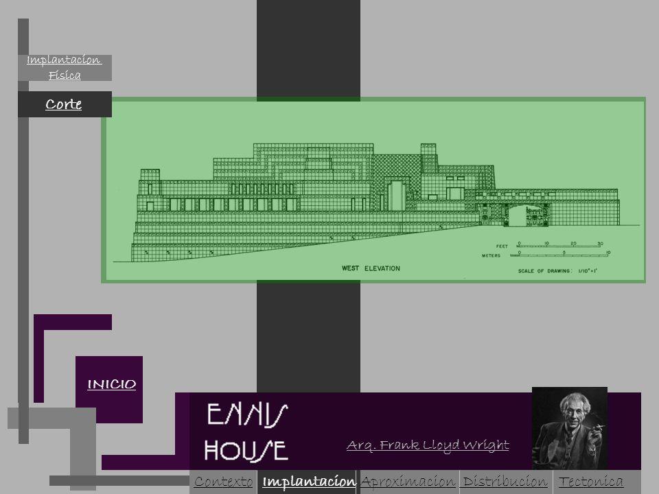 Fisica Corte INICIO ContextoImplantacionAproximacion Arq. Frank Lloyd Wright Tectonica Distribucion