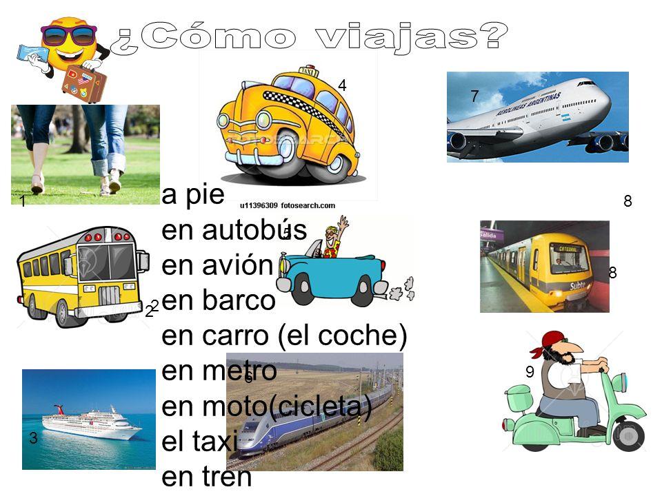 1 2 3 4 5 6 7 8 9 8 2 a pie en autobús en avión en barco en carro (el coche) en metro en moto(cicleta) el taxi en tren