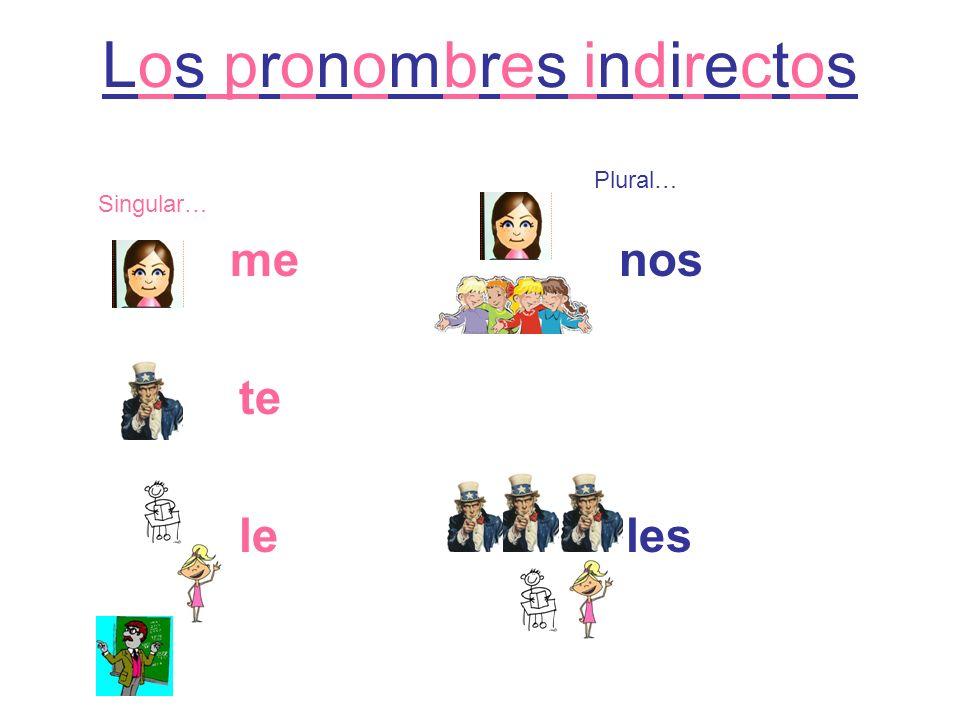 Los pronombres indirectos me nos te le les Singular… Plural…