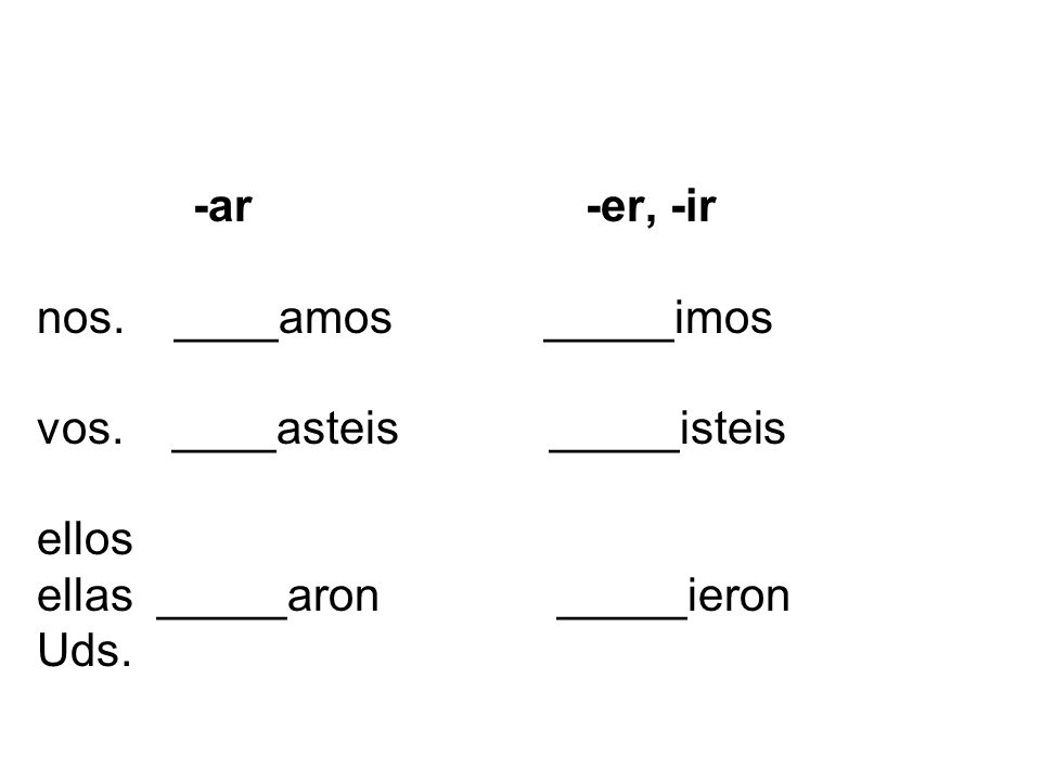-ar -er, -ir nos. ____amos _____imos vos. ____asteis _____isteis ellos ellas _____aron _____ieron Uds.