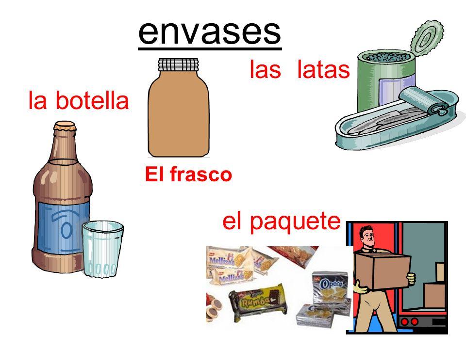 envases la botella el paquete las latas El frasco