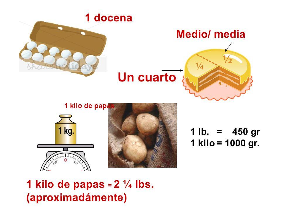 1 docena 1 kilo de papas = 2 ¼ lbs. (aproximadámente) Medio/ media Un cuarto 1 lb. = 450 gr 1 kilo = 1000 gr. 1 kilo de papas