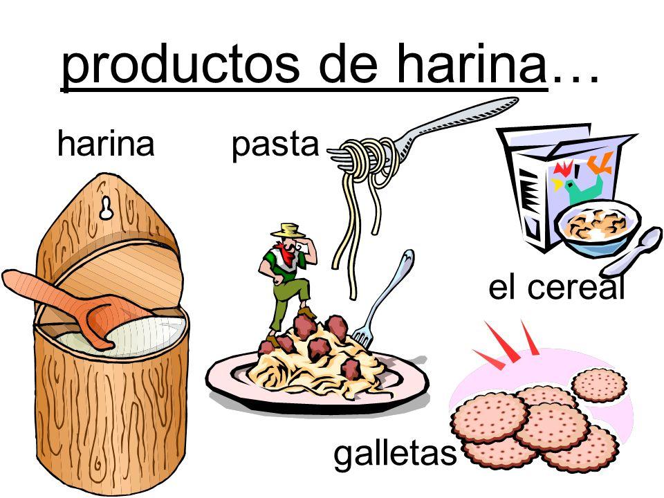 productos de harina… harina pasta el cereal galletas