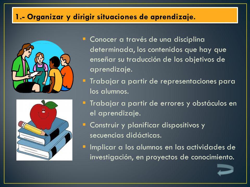 Conocer a través de una disciplina determinada, los contenidos que hay que enseñar su traducción de los objetivos de aprendizaje. Trabajar a partir de