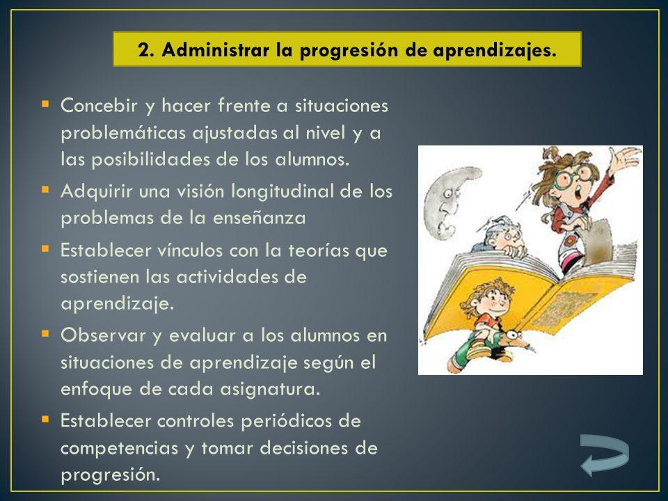 Concebir y hacer frente a situaciones problemáticas ajustadas al nivel y a las posibilidades de los alumnos. Adquirir una visión longitudinal de los p