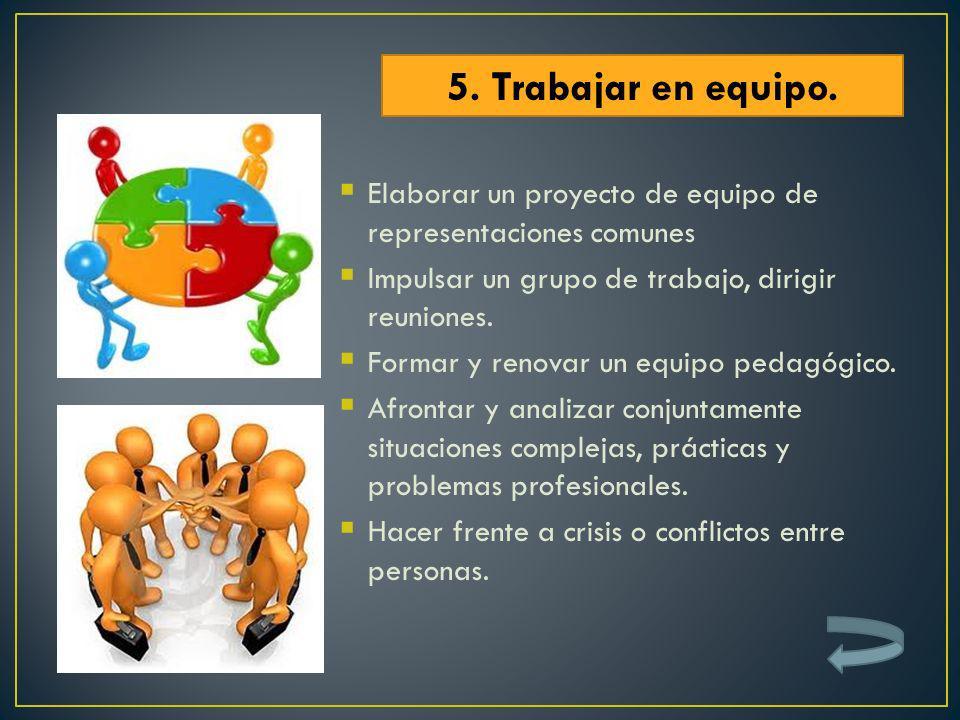 Elaborar un proyecto de equipo de representaciones comunes Impulsar un grupo de trabajo, dirigir reuniones. Formar y renovar un equipo pedagógico. Afr