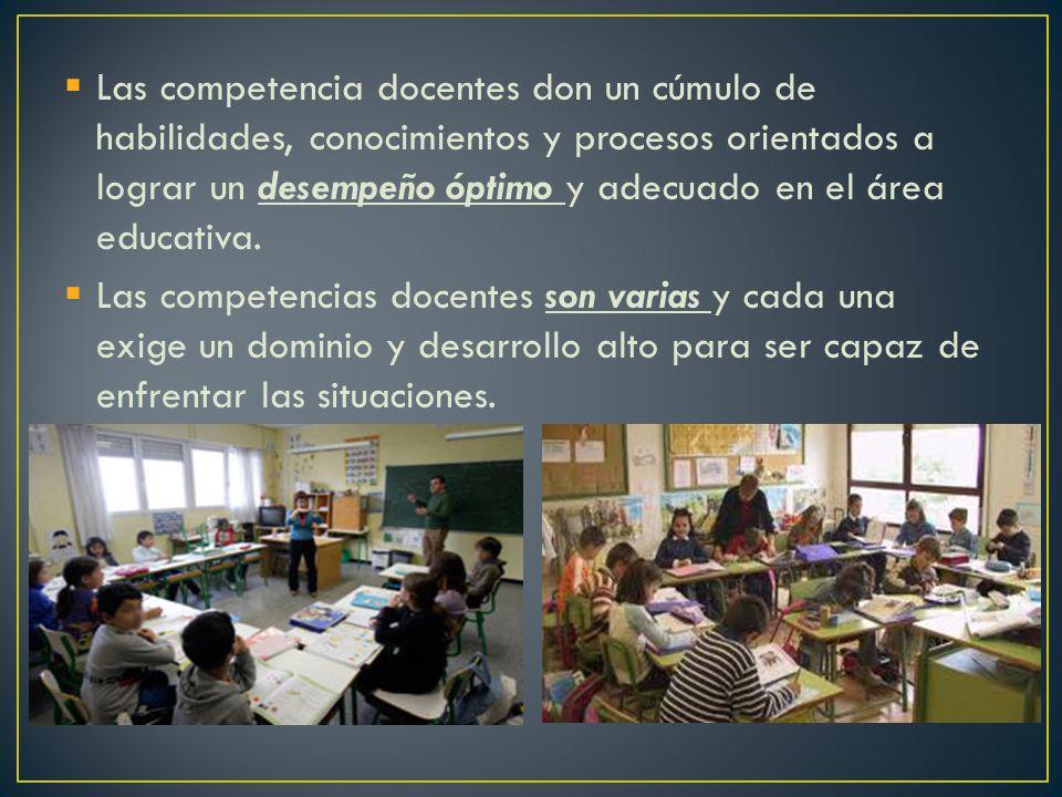 Las competencia docentes don un cúmulo de habilidades, conocimientos y procesos orientados a lograr un desempeño óptimo y adecuado en el área educativ