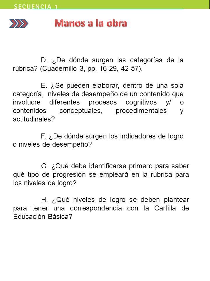 D. ¿De dónde surgen las categorías de la rúbrica? (Cuadernillo 3, pp. 16-29, 42-57). E. ¿Se pueden elaborar, dentro de una sola categoría, niveles de