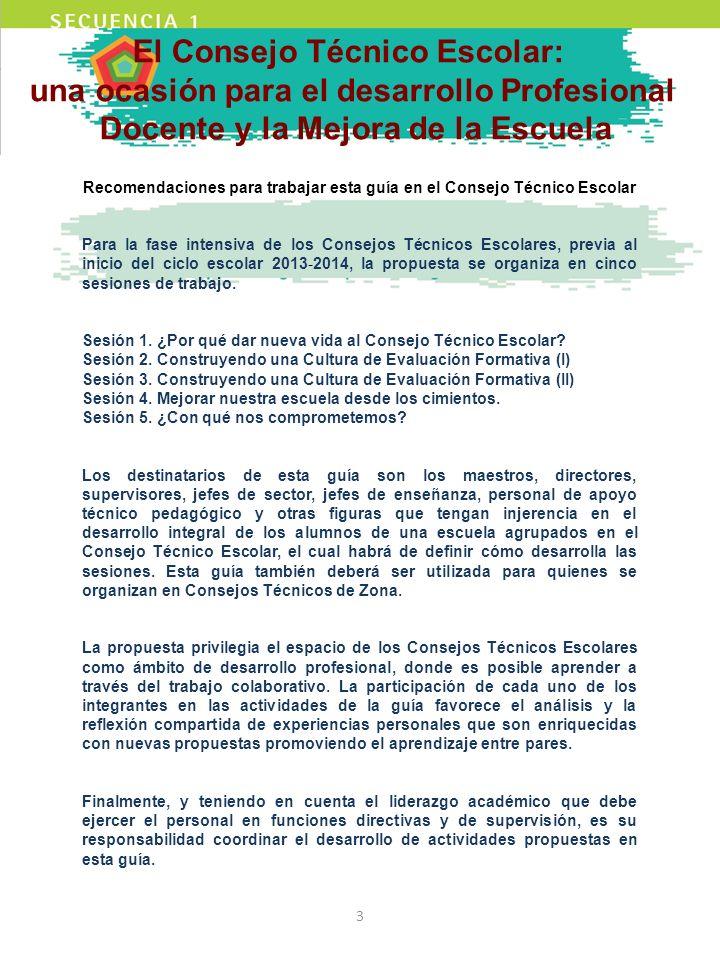 El Consejo Técnico Escolar: una ocasión para el desarrollo Profesional Docente y la Mejora de la Escuela Recomendaciones para trabajar esta guía en el