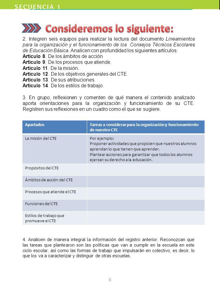 2. Integren seis equipos para realizar la lectura del documento Lineamientos para la organización y el funcionamiento de los Consejos Técnicos Escolar
