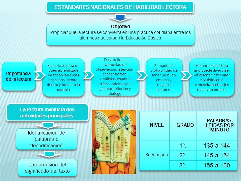 ESTÁNDARES NACIONALES DE HABILIDAD LECTORA Objetivo Propiciar que la lectura se convierta en una práctica cotidiana entre los alumnos que cursan la Ed