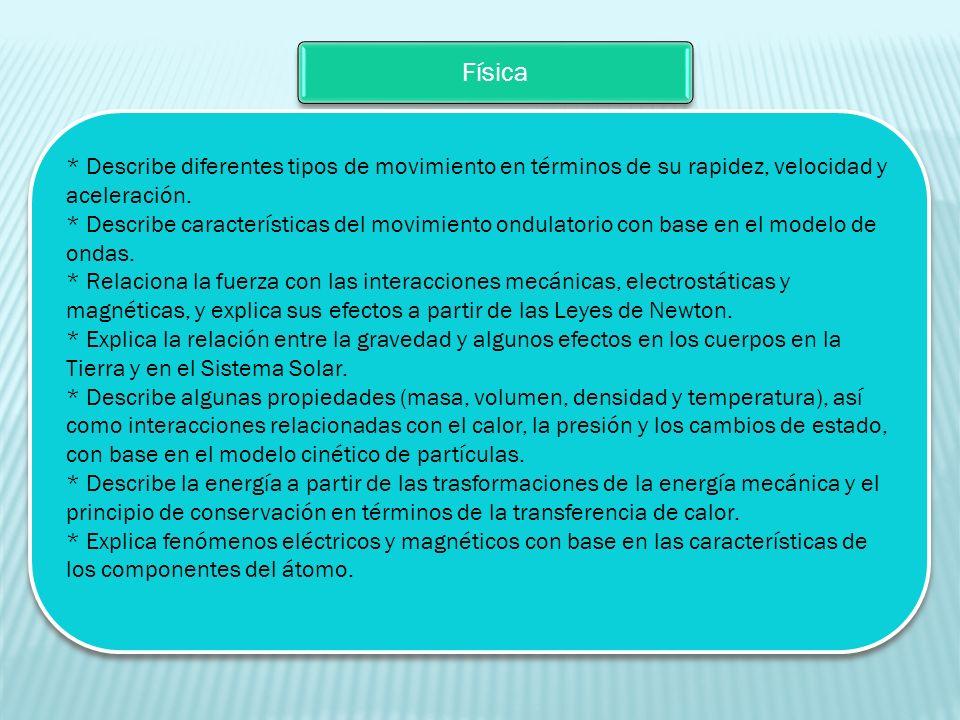 Física * Describe diferentes tipos de movimiento en términos de su rapidez, velocidad y aceleración. * Describe características del movimiento ondulat
