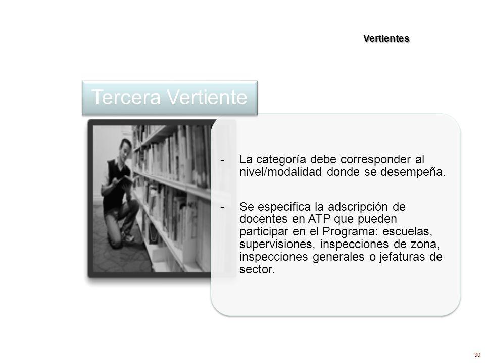 Vertientes - La categoría debe corresponder al nivel/modalidad donde se desempeña. - Se especifica la adscripción de docentes en ATP que pueden partic