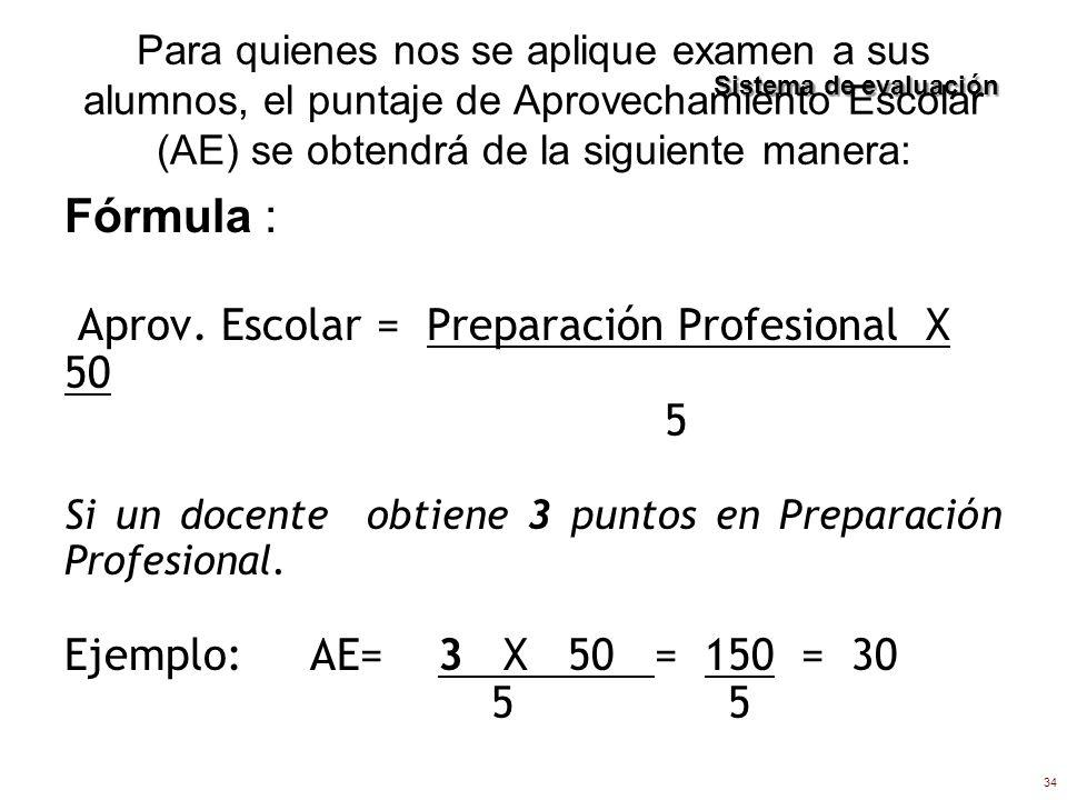 Para quienes nos se aplique examen a sus alumnos, el puntaje de Aprovechamiento Escolar (AE) se obtendrá de la siguiente manera: Fórmula : Aprov. Esco