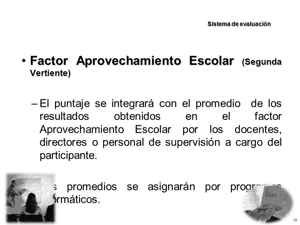 Factor Aprovechamiento Escolar (Segunda Vertiente)Factor Aprovechamiento Escolar (Segunda Vertiente) –El puntaje se integrará con el promedio de los r