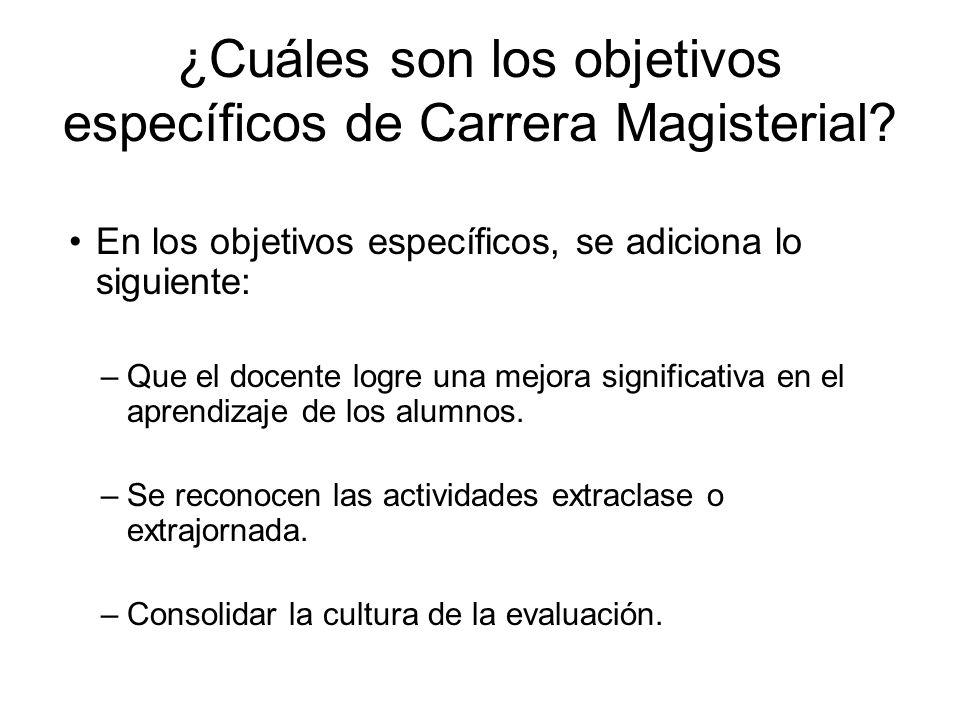 ¿Cuáles son los objetivos específicos de Carrera Magisterial? En los objetivos específicos, se adiciona lo siguiente: –Que el docente logre una mejora