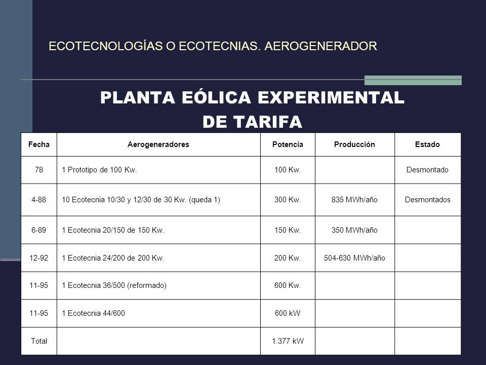ECOTECNOLOGÍAS O ECOTECNIAS. AEROGENERADOR PLANTA EÓLICA EXPERIMENTAL DE TARIFA FechaAerogeneradoresPotenciaProducciónEstado 781 Prototipo de 100 Kw.1