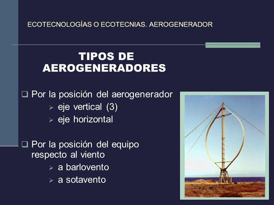 ECOTECNOLOGÍAS O ECOTECNIAS. AEROGENERADOR TIPOS DE AEROGENERADORES Por la posición del aerogenerador eje vertical (3) eje horizontal Por la posición