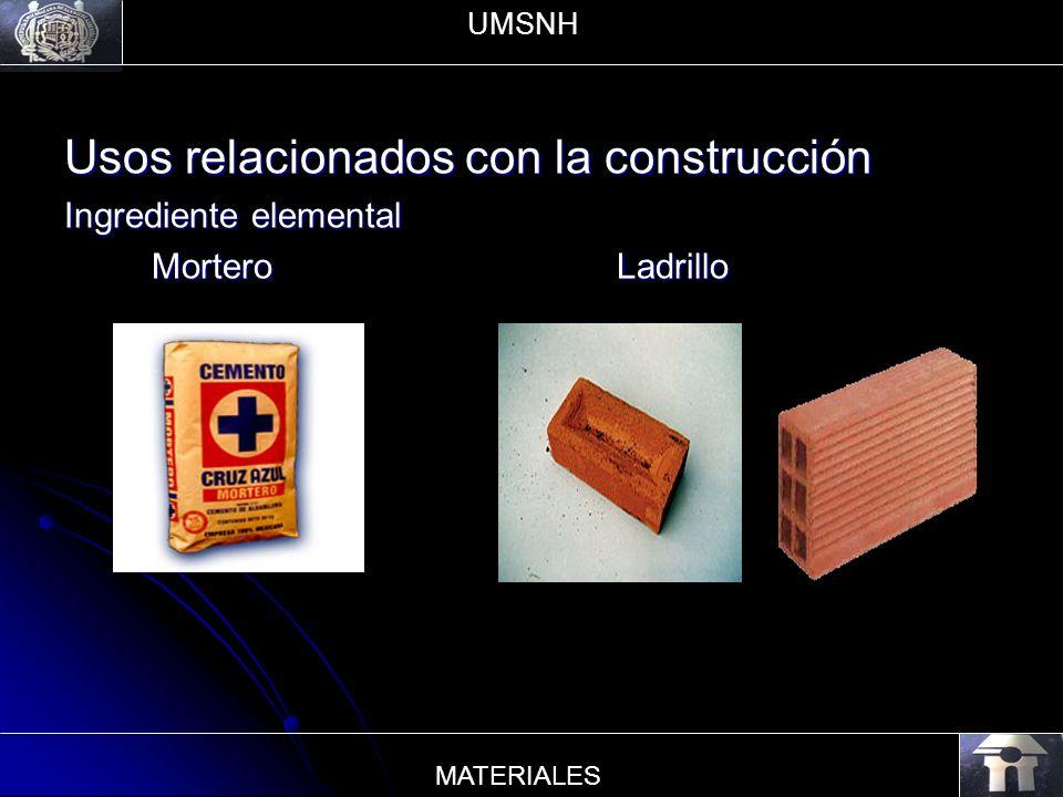 Usos relacionados con la construcción Ingrediente elemental Mortero Ladrillo Mortero Ladrillo UMSNH MATERIALES