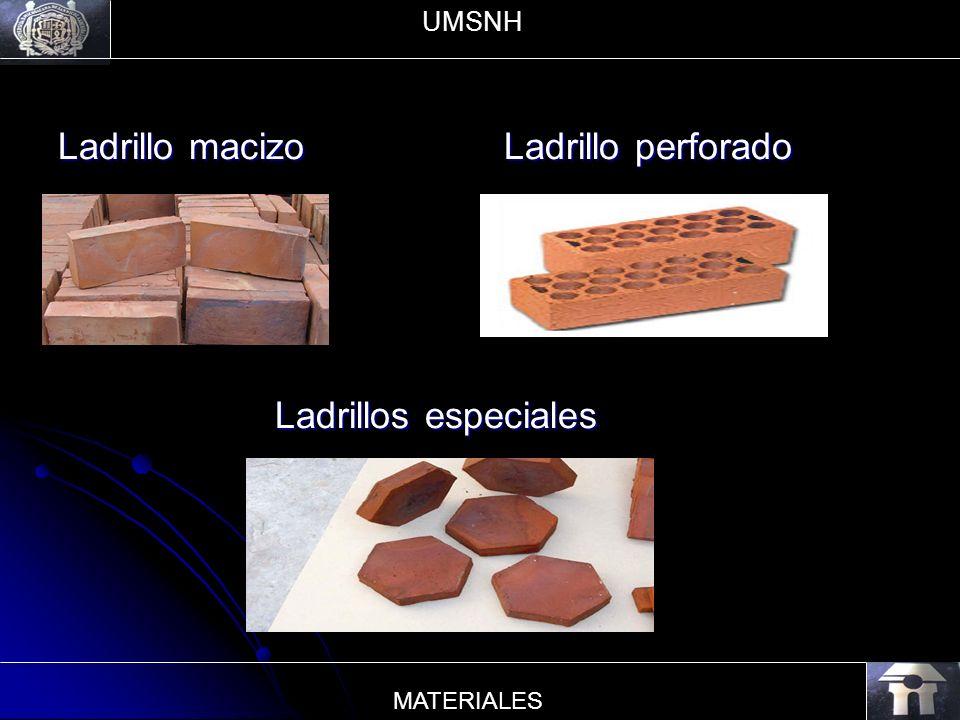 Ladrillo macizo Ladrillo perforado Ladrillos especiales Ladrillos especiales UMSNH MATERIALES