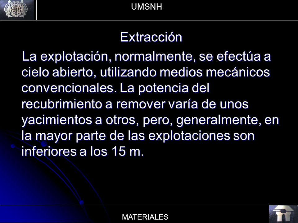 Extracción La explotación, normalmente, se efectúa a cielo abierto, utilizando medios mecánicos convencionales. La potencia del recubrimiento a remove