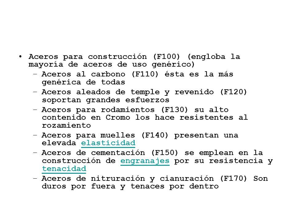 Aceros para construcción (F100) (engloba la mayoría de aceros de uso genérico) –Aceros al carbono (F110) ésta es la más genérica de todas –Aceros alea