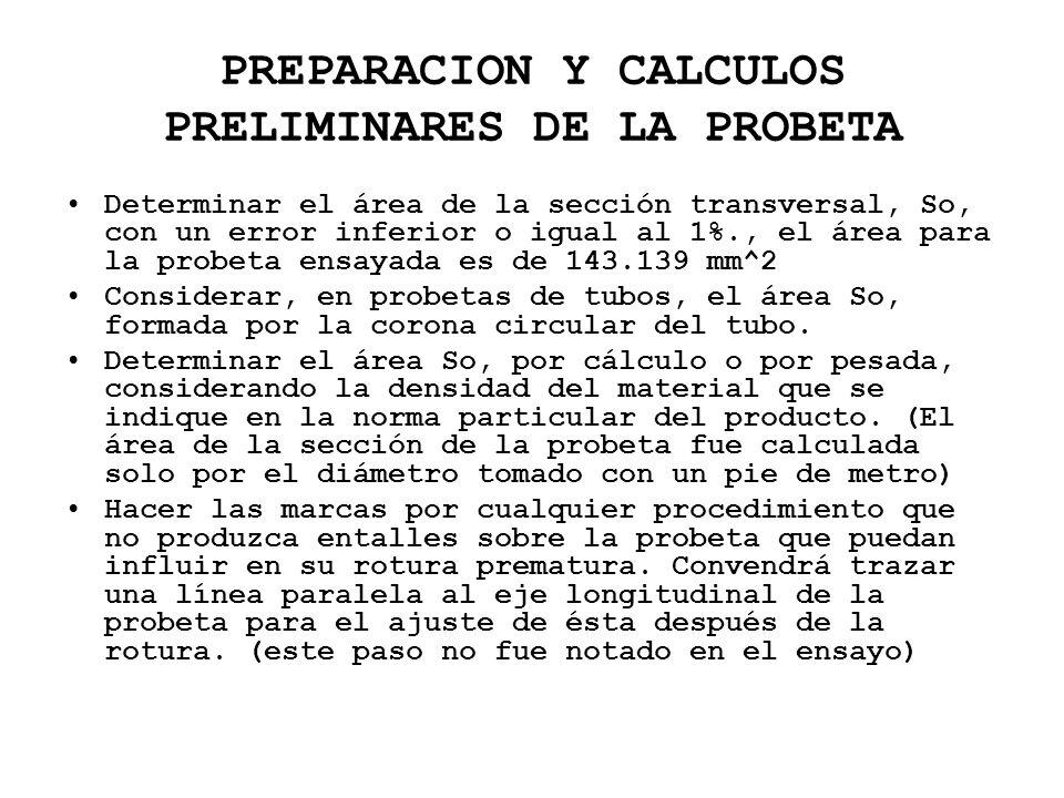 PREPARACION Y CALCULOS PRELIMINARES DE LA PROBETA Determinar el área de la sección transversal, So, con un error inferior o igual al 1%., el área para